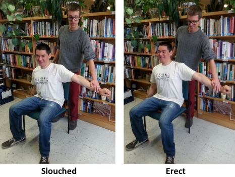 pressing down on arm slouched erect trimmed